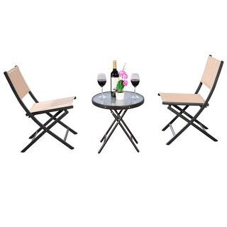 Costway 3PCS Patio Folding Table Chairs Furniture Set Bistro Garden Steel