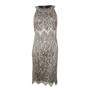 S.L. Fashions Women's Sleeveless Tiered Lace Overlay Fringe Dress - Gold