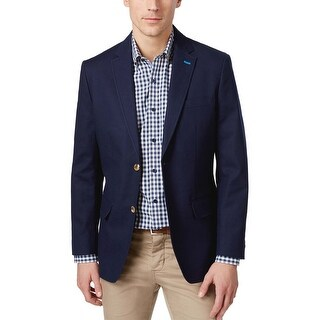 Club Room Regular Fit Navy Blue Textured Two Button Sportcoat Small S
