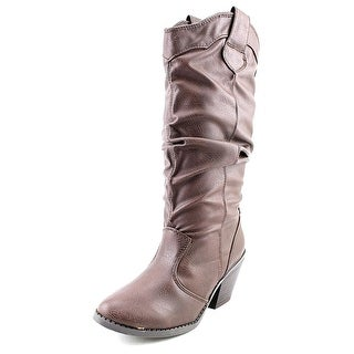 Qupid Muse-01 Round Toe Synthetic Mid Calf Boot