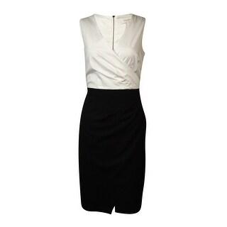 Laundry Women's Pleat Wrap Surplice Dress
