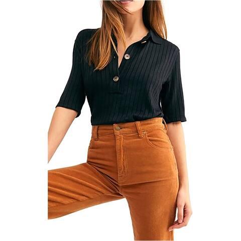Free People Womens Heart Strings Polo Shirt