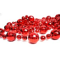 Club Pack of 12 Shiny Red Disco Ball Beaded Christmas Garlands - 9'