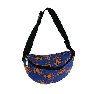 Blue and Orange Octopus in Sunglasses Canvas waist Pack