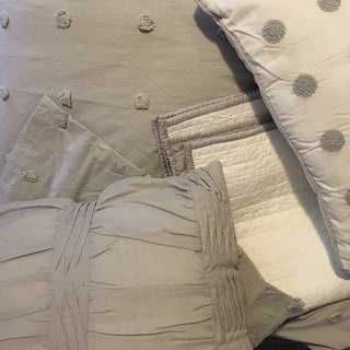 Urban Habitat Maize Grey Cotton Jacquard 7-piece Comforter Set