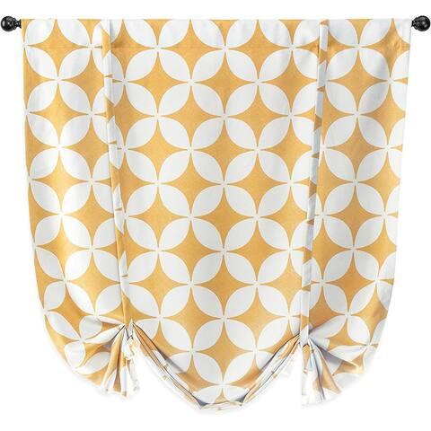 Amelia Retro Geo Pattern Round Circle Star Print Blackout Tie Up Curtain - 45 x 63