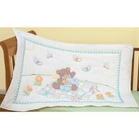 """Stamped White Quilt Crib Top 40""""X60""""-Bear & Bunny"""