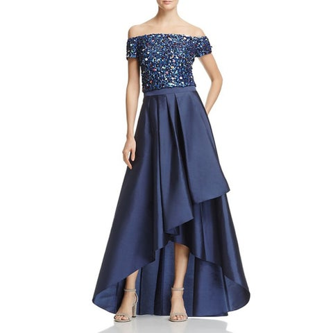 Adrianna Papell Sequined High Low Gown