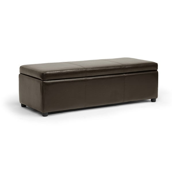 Aaron Dark Brown Modern Storage Ottoman w/Polyurethane-Coat Leather