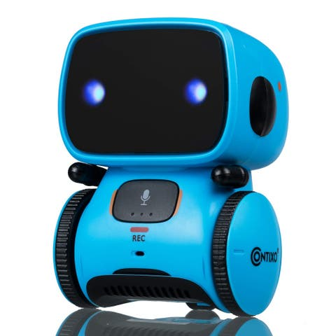 Contixo R1 Voice Controlled Kids Toy Robot, Interactive Talking Touch Sensor Dancing Speech Recognition for Children (Blue)