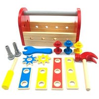 Wooden Tool Box with Accessories Playset Pretend Play Toy for Kids