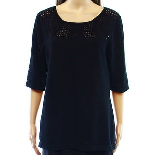 Cable & Gauge NEW Black Eyelet Knit Women's Size Large L Tunic Sweater