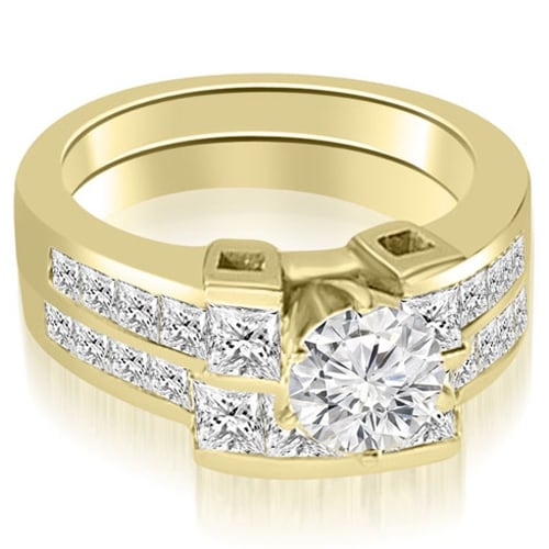 2.20 cttw. 14K Yellow Gold Channel Set Diamond Princess and Round Cut Bridal Set