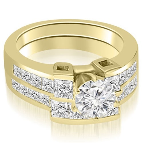 2.45 cttw. 14K Yellow Gold Channel Set Diamond Princess and Round Cut Bridal Set