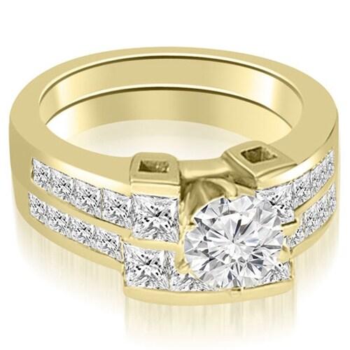 2.70 cttw. 14K Yellow Gold Channel Set Diamond Princess and Round Cut Bridal Set