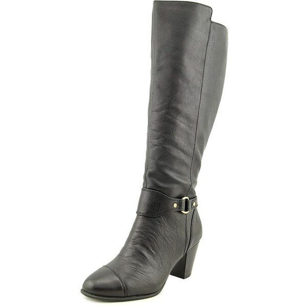 Giani Bernini Cagney Wide Calf Women Round Toe Leather Black Knee High Boot
