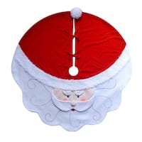 "52"" Red and White Santa Claus Head Christmas Tree Skirt"