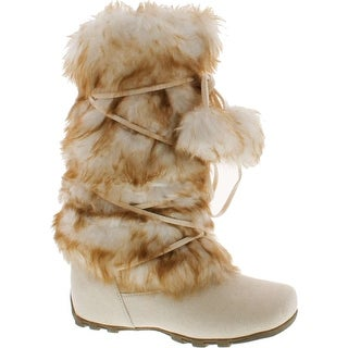 Blossom Womens Tara-Hi Pom Pom Winter Fashion Boots - Ice