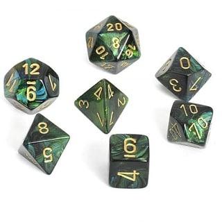 Scarab Jade With Gold Polyhedral 7 Die Set