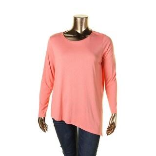 Lilla P Womens Casual Top Cotton Asymmetrical