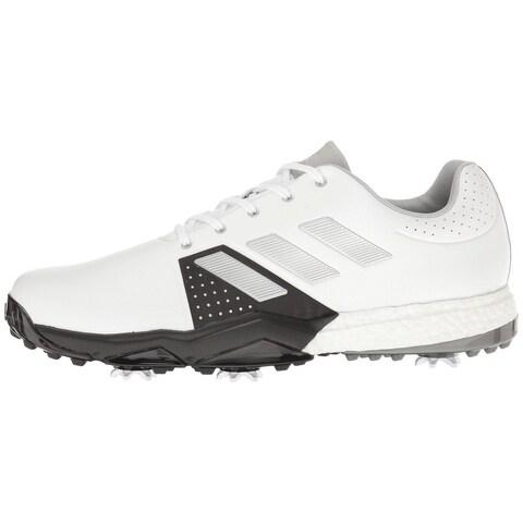 Adidas Men's Adipower Boost 3 White/Silver Metallic/Black Golf Shoes Q44756/Q44762