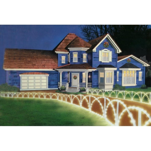 7.5' Lighted White Christmas Pathway Fence Lawn Stakes - Clear Lights