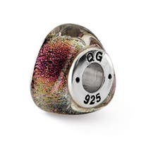 Sterling Silver Reflections Rainbow Dichroic Glass Triangle Bead (4mm Diameter Hole)
