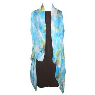 CTM® Women's Sheer Lightweight Floral Vest Shawl - Blue - One Size