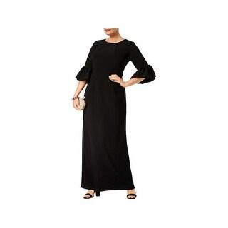 Betsy & Adam Womens Plus Melania Evening Dress Full-Length Bell Sleeves