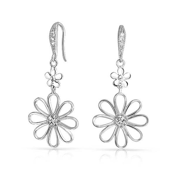 c9622b36f9933 Bridal Daisy Flower Shape CZ Dangle Earrings Cubic Zirconia For Women  French Wire 925 Sterling Silver