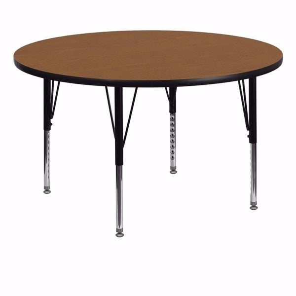 Offex 60'' Round Activity Table with Oak Thermal Fused Laminate Top and Height Adjustable Pre-School Legs - N/A