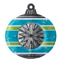 "15.5"" Lighted Shimmering Blue  Green  White & Silver Ornament Christmas Window Silhouette Decoration"