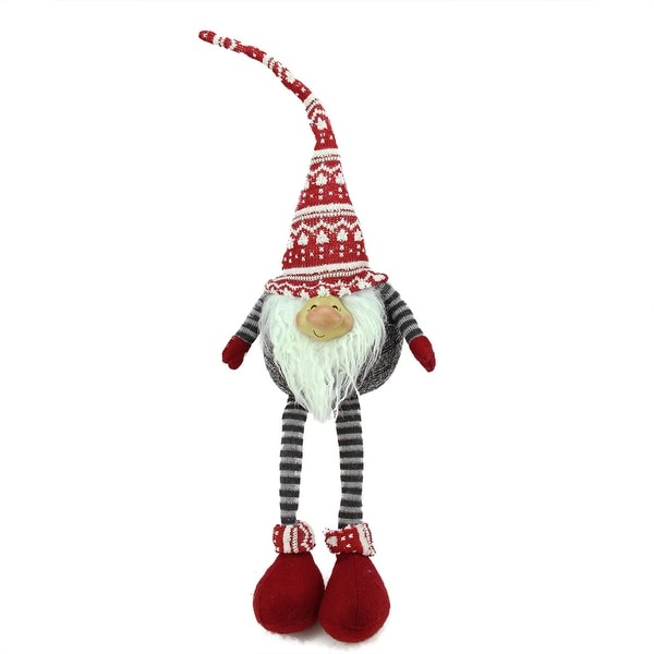 """24"""" Gray and Red Portly Smiling Hanging Leg Gnome Christmas Decoration with Christmas Snow Cap"""