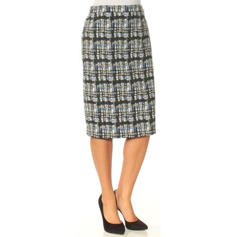 CALVIN KLEIN Womens Navy Printed Knee Length Pencil Skirt Size: 2