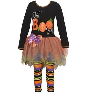 """Bonnie Jean Baby Girls Black """"FaBOOlous"""" Sequin Halloween 2 Pc Pant Set"""