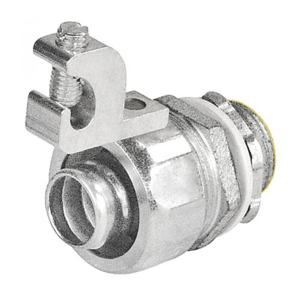 1 Pc, 5 in. Malleable Iron Liquid Tight Straight Connector with Aluminum Grounding Lug
