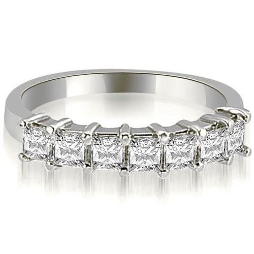 0.70 cttw. 14K White Gold Princess Diamond 7-Stone Prong Wedding Band