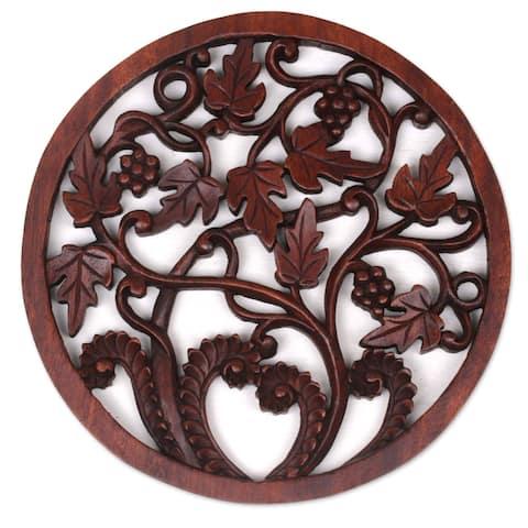 "Handmade Vineyard Medallion Wood Relief Panel (Indonesia) - 0.8"" H x 11.5"" Diam."