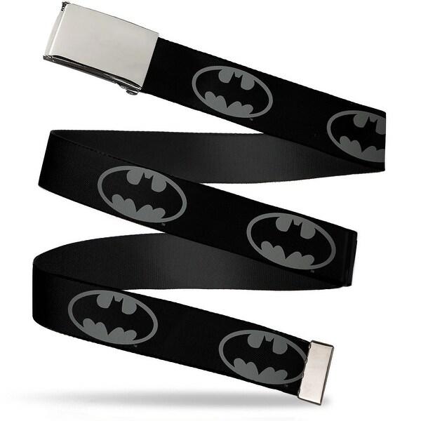 Blank Chrome Buckle Batman Shield Black Gray Webbing Web Belt
