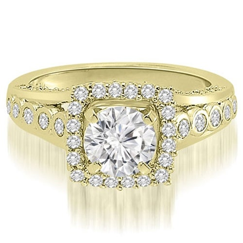 1.65 cttw. 14K Yellow Gold Halo Round Cut Diamond Engagement Ring