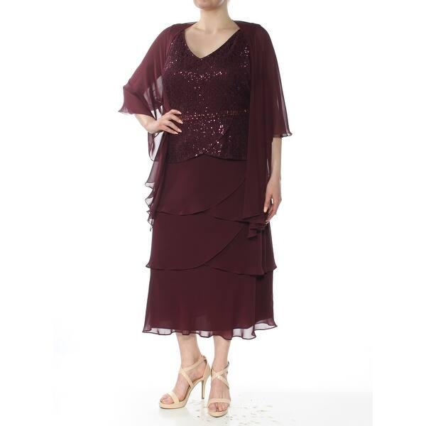 SLNY Womens Maroon Sequined Sheer V Neck Tea-Length Sheath Formal Dress  Plus Size: 14W