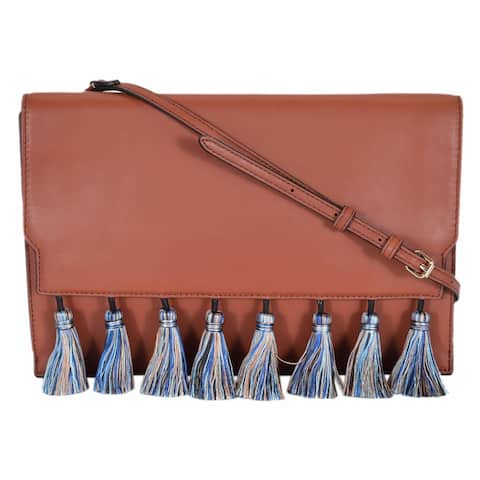 Rebecca Minkoff Brick Leather Pom Pom Crossbody Sofia Clutch Handbag