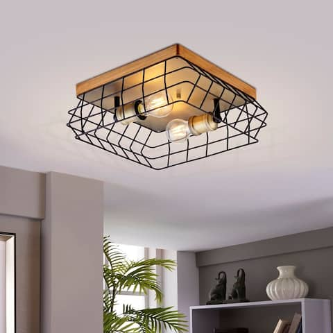 Archiology Semi Flush Mount Ceiling Light Fixture - Wood/Black