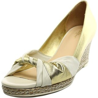 Cole Haan Ava Open Toe Wedge Women Open Toe Leather Gold Wedge Heel