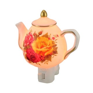 Floral Teapot Shaped Porcelain Night Light - White