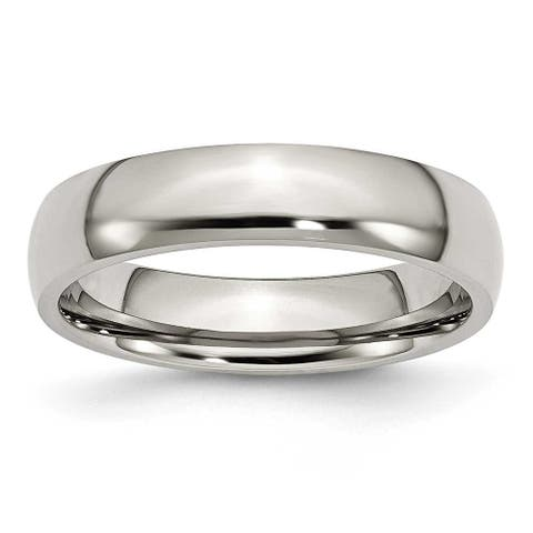 Chisel Polished Stainless Steel Ring (5.0 mm) - Sizes 6-13