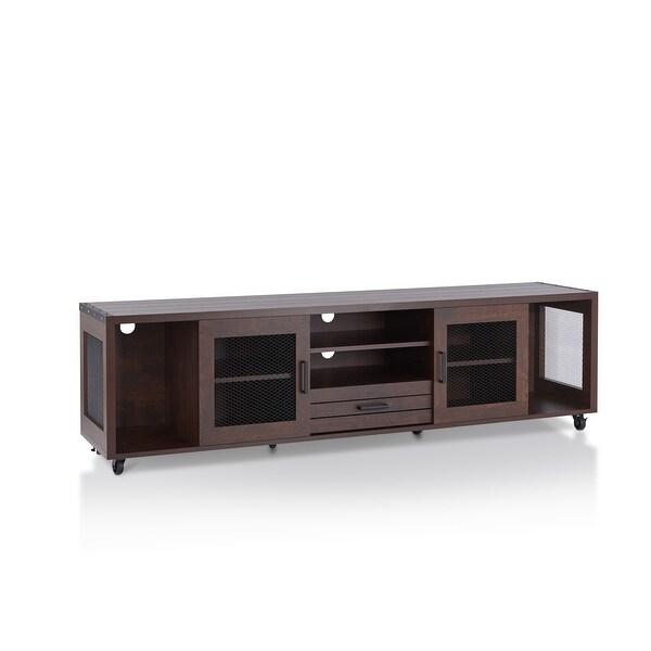 Furniture of America Hury Industrial 70-inch Walnut Wood TV Stand