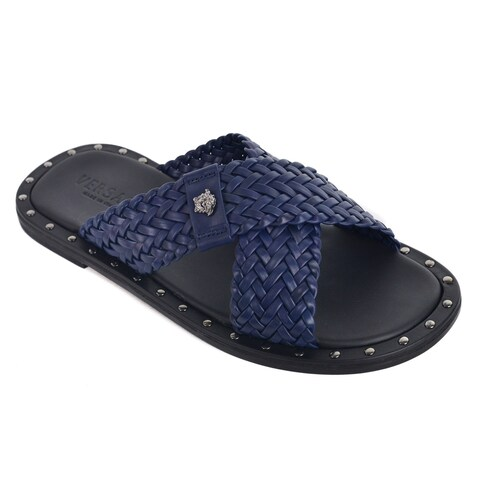 Versace Navy Woven Leather Gold Studded Slide Sandals