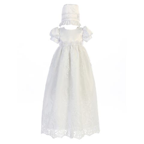 Swea Pea & Lilli White Satin Embroidered Tulle Baptism Dress Baby Girls