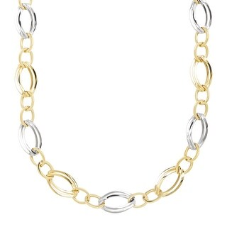 Double Oval Station Link Station Necklace in 14K Gold-Bonded Sterling Silver - Two-tone